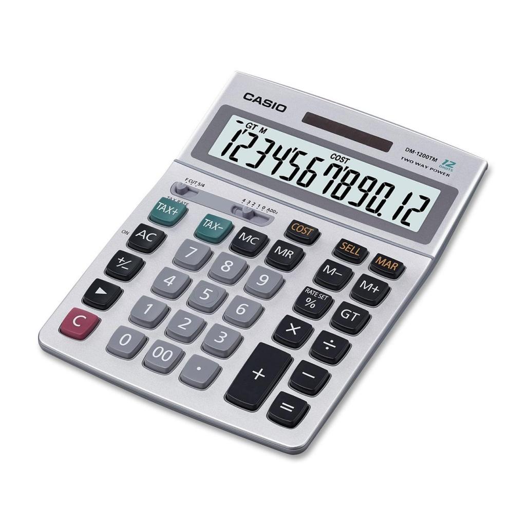 Калькулятор Casio DM-1200MS Grey - двойное питание