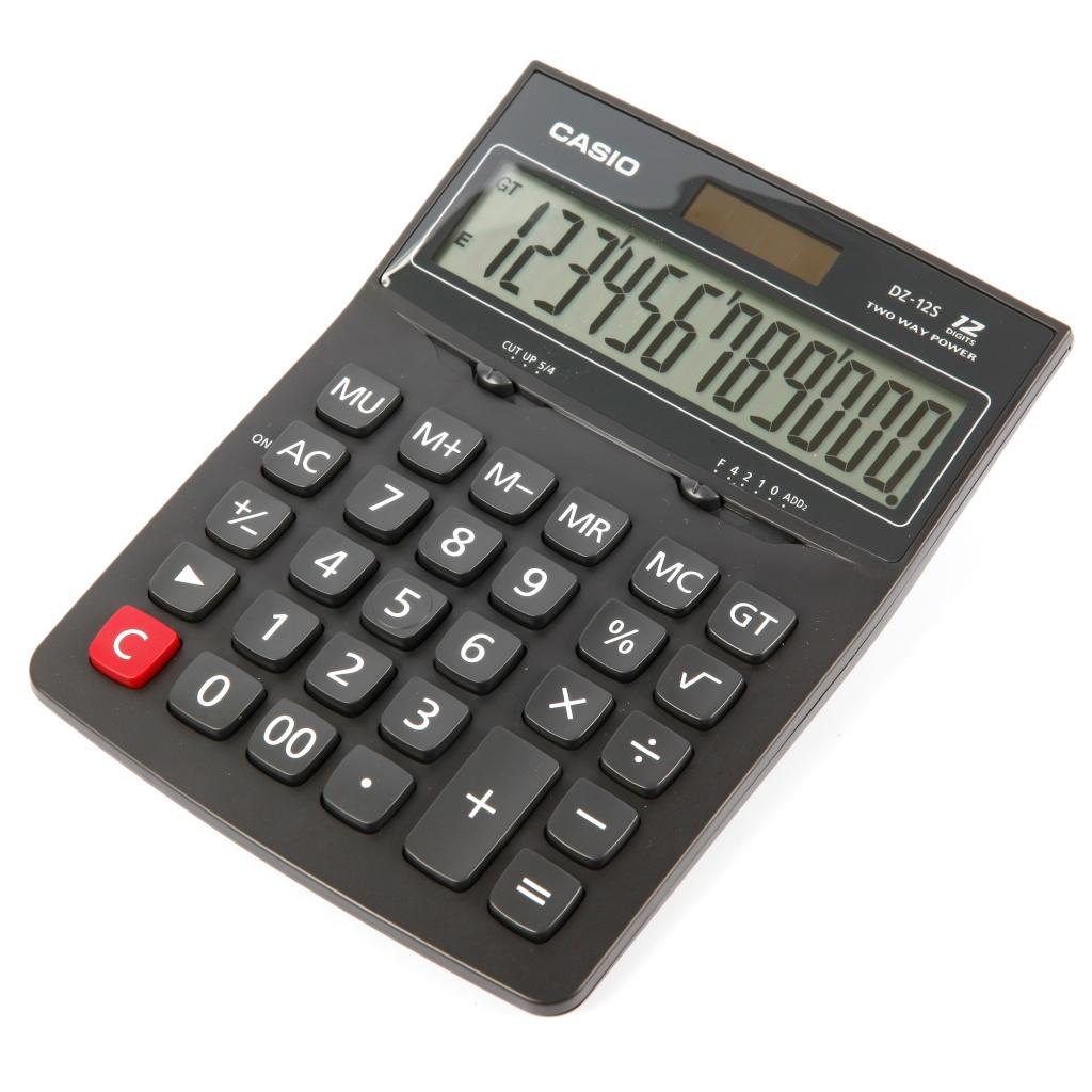 Калькулятор Casio DZ-12S Black - двойное питание