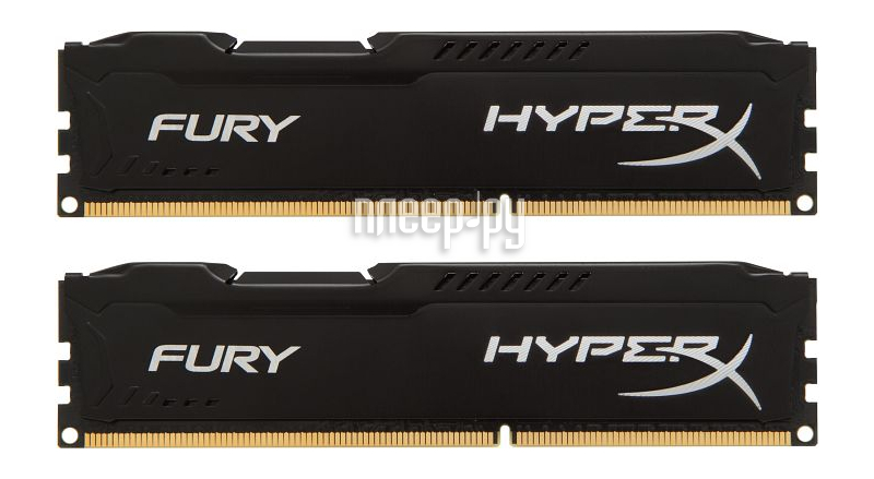 Модуль памяти HyperX Fury Black Series PC3-12800 DIMM DDR3 1600MHz CL10 - 16Gb KIT (2x8Gb) HX316C10FBK2/16