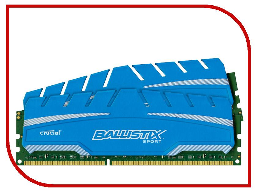 Модуль памяти Crucial Ballistix Sport XT DDR3 DIMM 1600MHz PC3-12800 CL9 - 8Gb KIT (2x4Gb) BLS2C4G3D169DS3CEU<br>