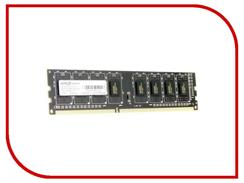 Модуль памяти AMD DDR3 DIMM 1600MHz PC3-12800 CL11 - 2Gb R532G1601U1S-UO<br>