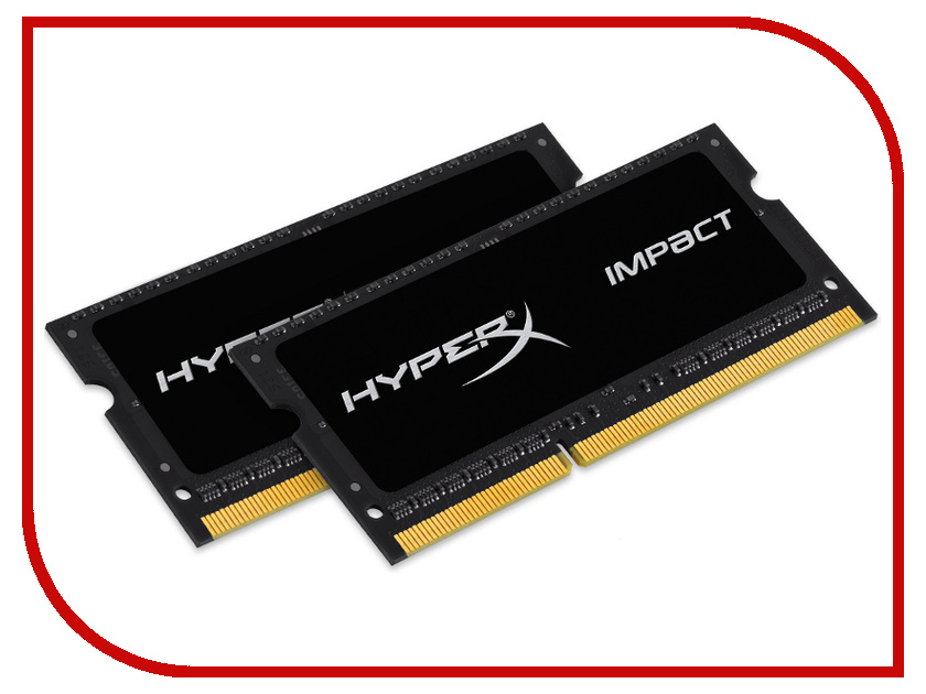 Модуль памяти Kingston HyperX Impact PC3-12800 SO-DIMM DDR3L 1600MHz CL9 - 16Gb KIT (2x8Gb) HX316LS9IBK2/16<br>