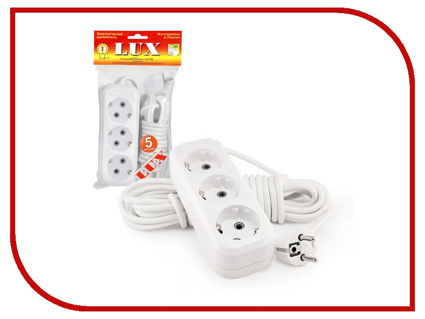 Удлинитель LUX У3-Е-05 3 Sockets 5m 16A White удлинитель rexant optima 3 sockets 7m white 11 2267