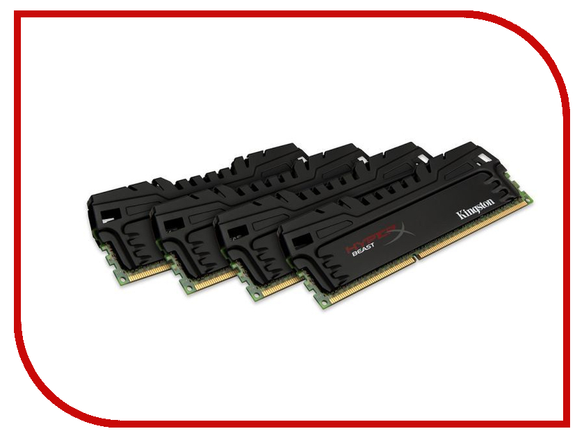 Модуль памяти Kingston HyperX Beast PC3-15000 DIMM DDR3 1866MHz - 16Gb KIT (4x4Gb) HX318C9T3K4/16 CL9<br>