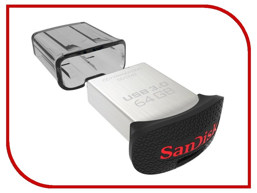 USB Flash Drive 64Gb - SanDisk Ultra Fit SDCZ43-064G-G46 / SDCZ43-064G-GAM46 карта памяти compact flash card 64gb sandisk sdcfxsb 064g g46