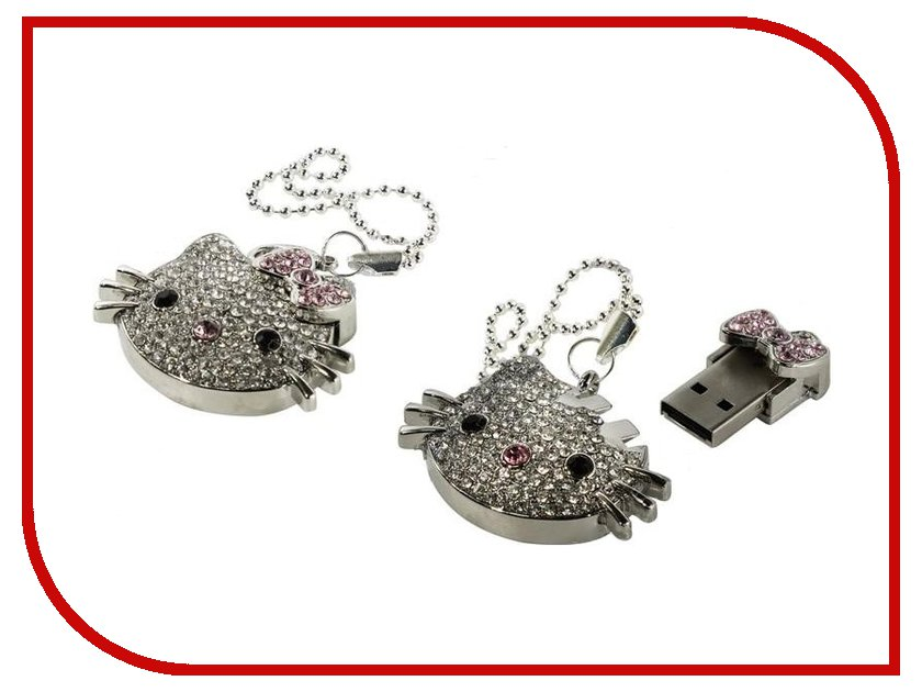 USB Flash Drive 16Gb - Iconik Hello Kitty Silver Swarovski MTFC-HKF-16GB