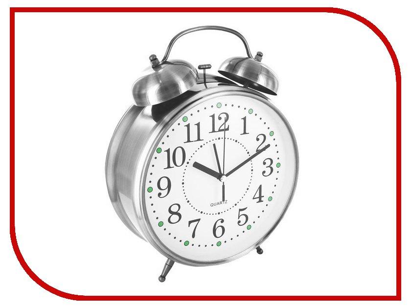 Часы настольные Эврика CBS001-003C11 - Часы Будильник Гигант Nickel