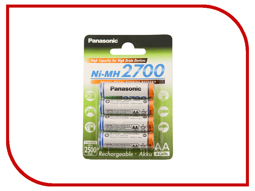 Аккумулятор AA - Panasonic Eneloop Pro 2700 mAh (4 штуки) BK-3HGAE/4BE<br>