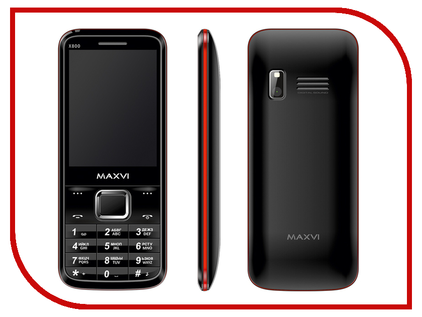 Сотовый телефон Maxvi X800 Black-Red<br>