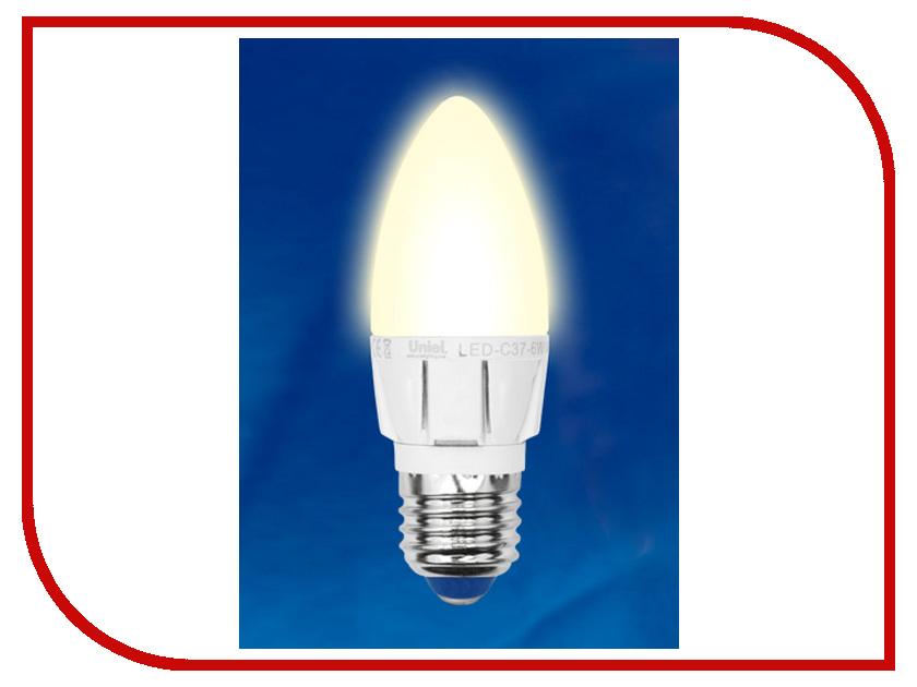 Лампочка Uniel LED-C37-6W/WW/E27/FR/DIM ALP01WH свеча<br>