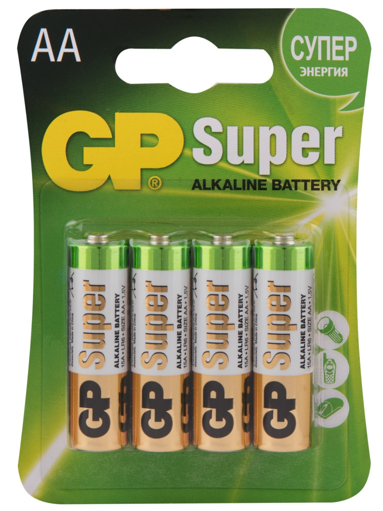 Батарейка AA - GP Alkaline Super LR6 15A-2CR4 (4 штуки)