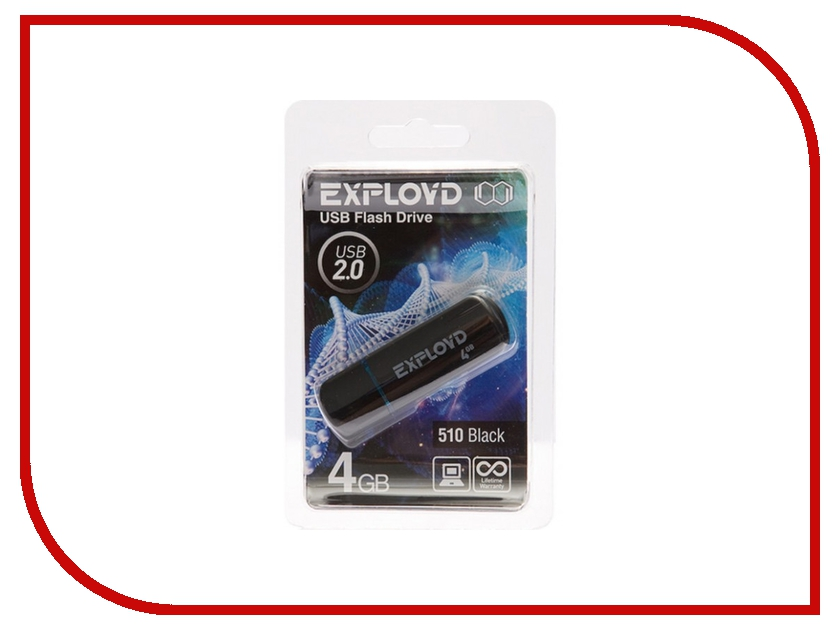 USB Flash Drive 4Gb - Exployd 510 Black EX004GB510-B