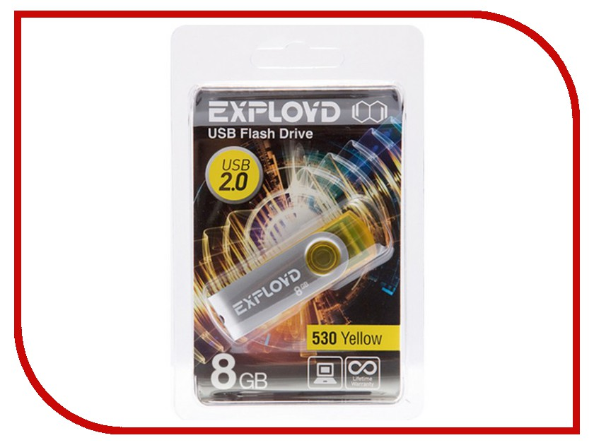 USB Flash Drive 8Gb - Exployd 530 Yellow EX008GB530-Y