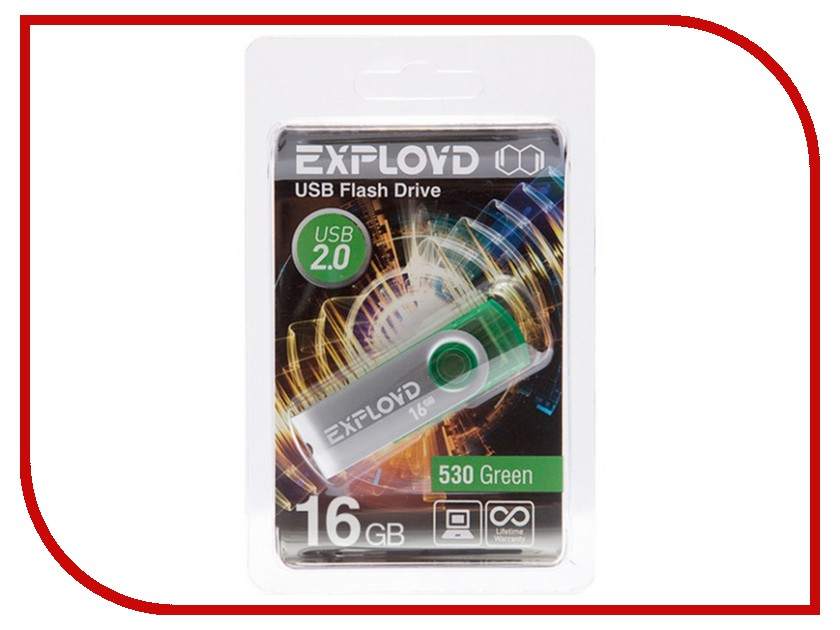 USB Flash Drive 16Gb - Exployd 530 Green EX016GB530-G