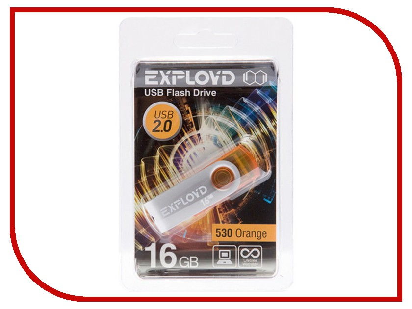 USB Flash Drive 16Gb - Exployd 530 Orange EX016GB530-O