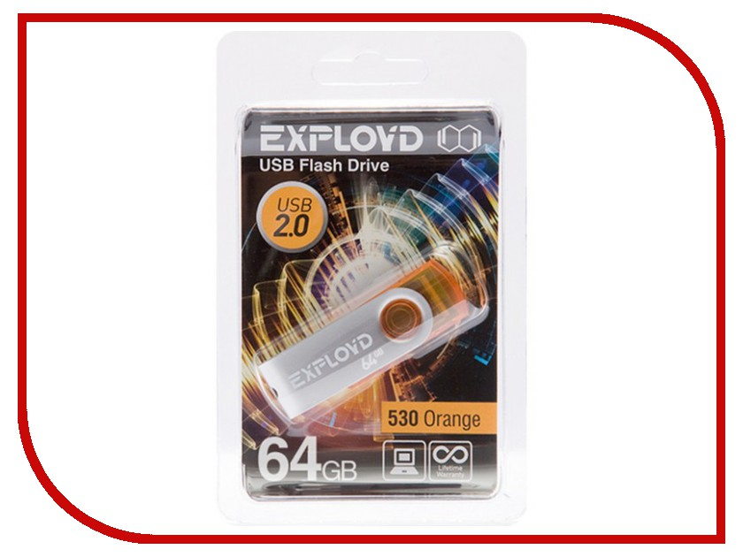 USB Flash Drive 64Gb - Exployd 530 Orange EX064GB530-O<br>