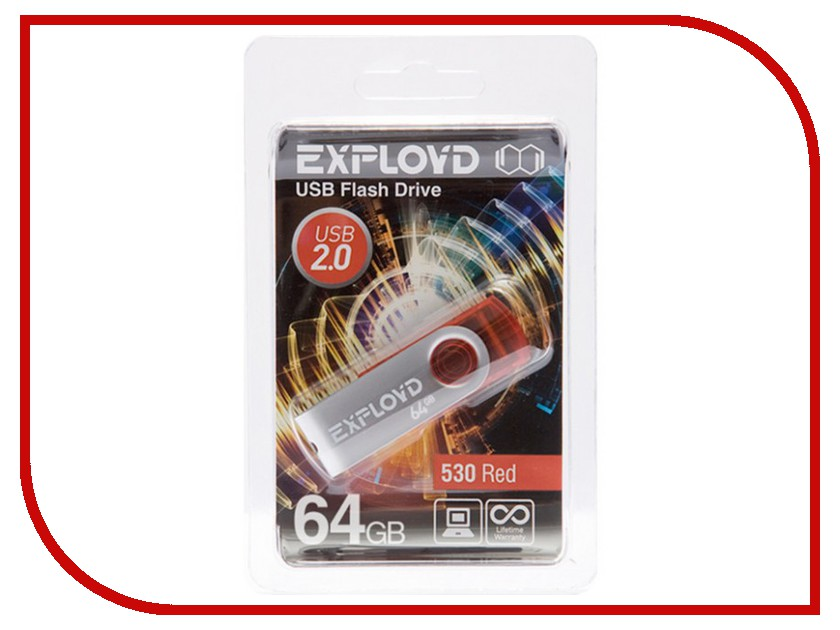 USB Flash Drive 64Gb - Exployd 530 Red EX064GB530-R 530 120 brand new unibear motorcycle drive chain 530 gold o ring chain 120 links for suzuki gsf 650 s bandit drive belts