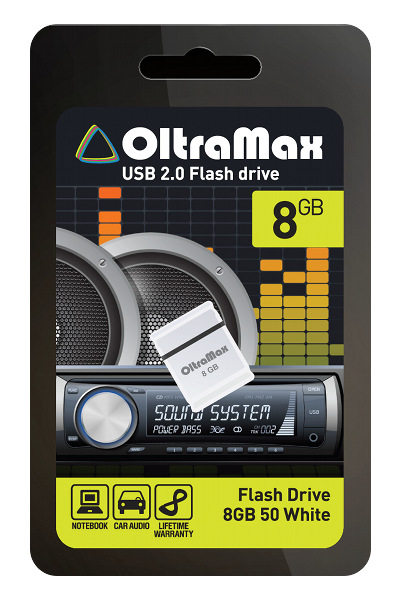 USB Flash Drive 8Gb - OltraMax 50 White OM008GB-mini-50-W