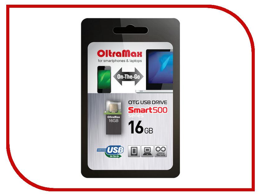USB Flash Drive 16Gb - OltraMax 500 Smart Graphite OM016GB500SM-OTG