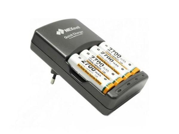 Зарядное устройство NEXcell QC-650 + 2 ак. AA 2700 mAh + 2 ак. AAA 1000 mAh<br>