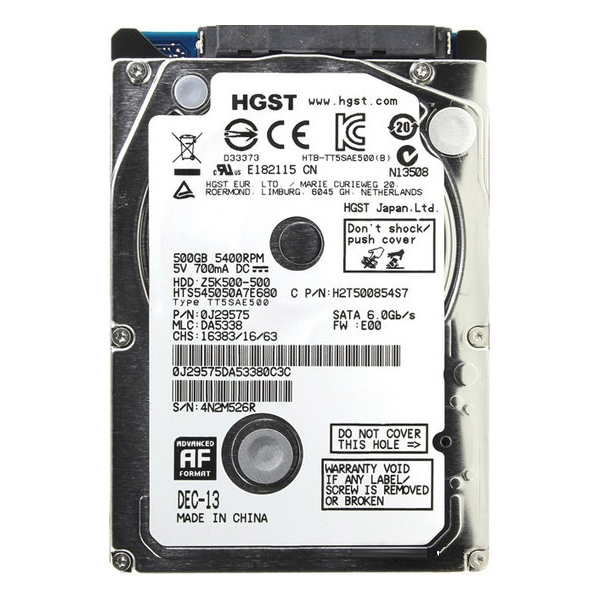 Жесткий диск 500Gb - HGST / Hitachi Travelstar Z5K500 HTS545050A7E680 / 0J38065 все цены