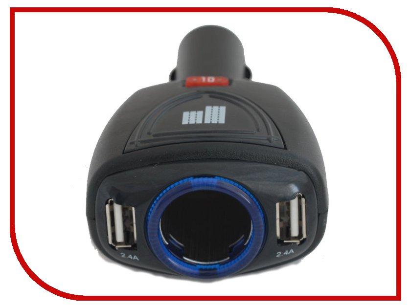 Аксессуар Разветвитель прикуривателя на 1 гнездо и 2 USB выхода ParkCity SM-121<br>