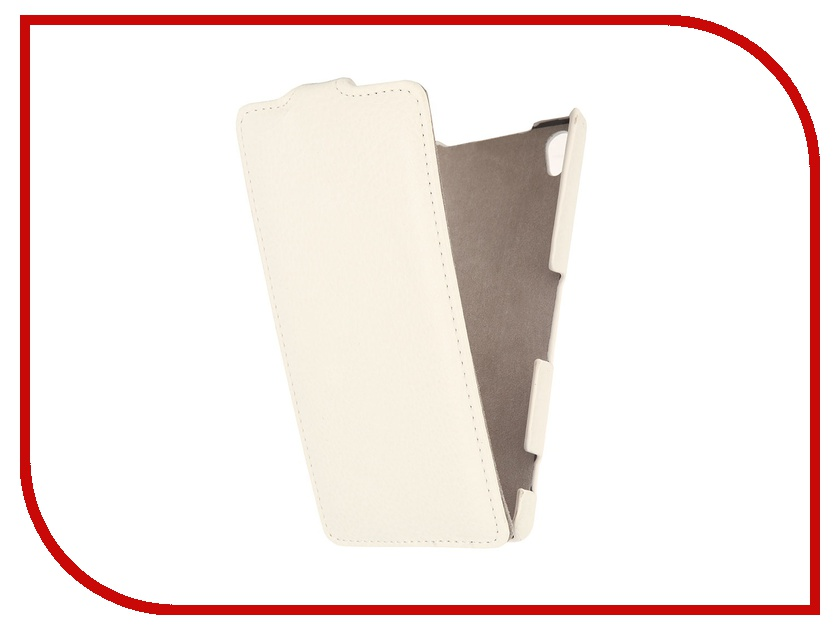 Аксессуар Чехол Ainy for Sony Xperia Z3 кожаный White<br>
