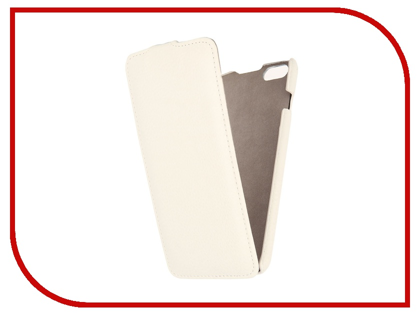 где купить  Аксессуар Чехол Ainy for iPhone 6 Plus кожаный, вертикальный White  дешево