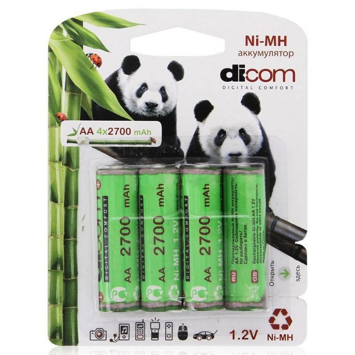 Аккумулятор AA - Dicom Panda 2700 mAh Ni-MH AA2700mAh (4 штуки)