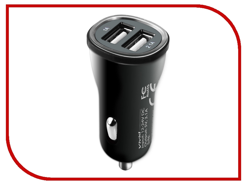 Зарядное устройство Promate Vivid Black<br>