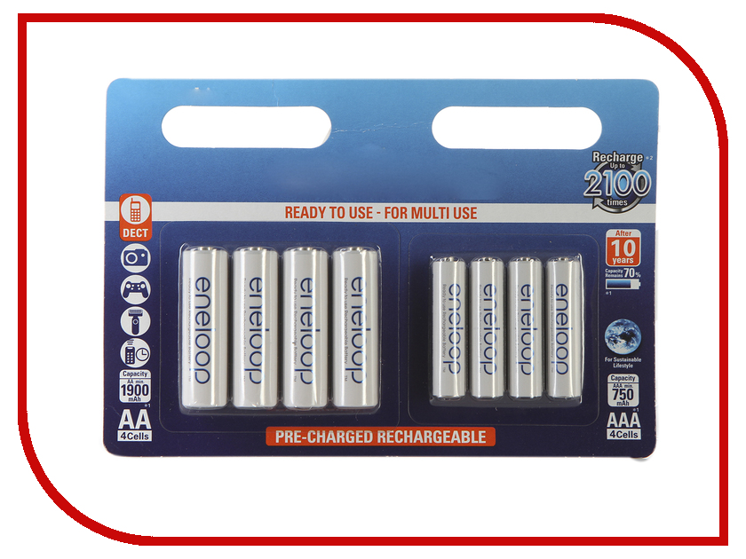 Аккумулятор AA+AAA - Panasonic Eneloop AA 1900 mAh (4 штуки) + AAA 750 mAh Ni-MH (4 штуки) BK-KJMCCE44E lk sp416002a lkp sp006 good working tested