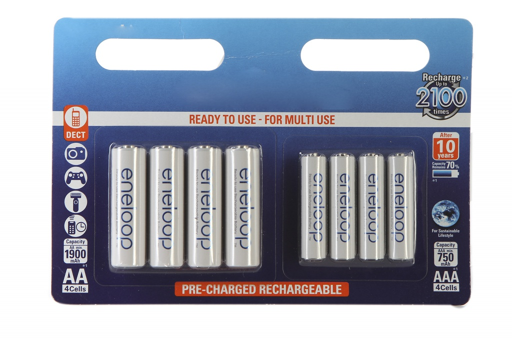 Аккумулятор AA+AAA - Panasonic Eneloop AA 1900 mAh (4 штуки) + AAA 750 mAh Ni-MH (4 штуки) BK-KJMCCE44E tangsfire bt c2000 12v 1a 4 slot ni mh ni cd aa aaa battery power charger black