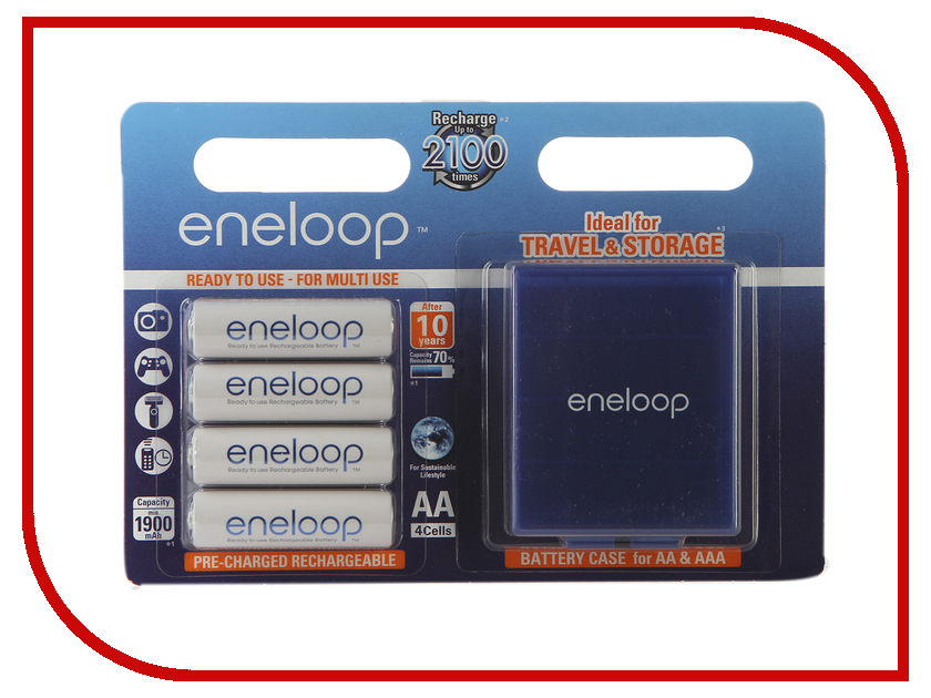 Аккумулятор AA - Panasonic Eneloop 1900 mAh Ni-MH (4 штуки) BK-3MCCEC4BE с кейсом bty cm01 rechargeable 1 2v 2300mah aa ni mh batteries w plastic battery case green gold 4 pcs