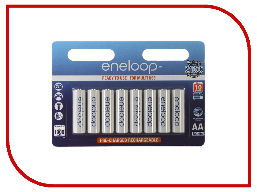 Аккумулятор AA - Panasonic Eneloop 1900 mAh Ni-MH (8 штук) BK-3MCCE/8BE аккумулятор panasonic eneloop bk 4mcce 8be 750mah aaa bl8