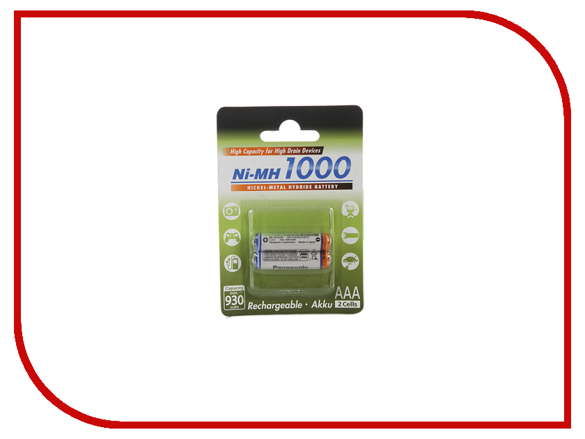 Аккумулятор AAA - Panasonic 1000 mAh Ni-MH (2 штуки) 2BPBK-4HGAE/2BE rechargeable 3 6v aaa 800mah ni mh battery pack