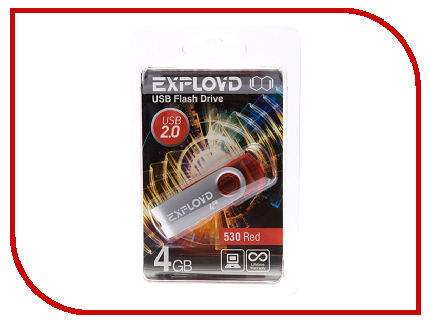 USB Flash Drive 4Gb - Exployd 530 Red EX004GB530-R