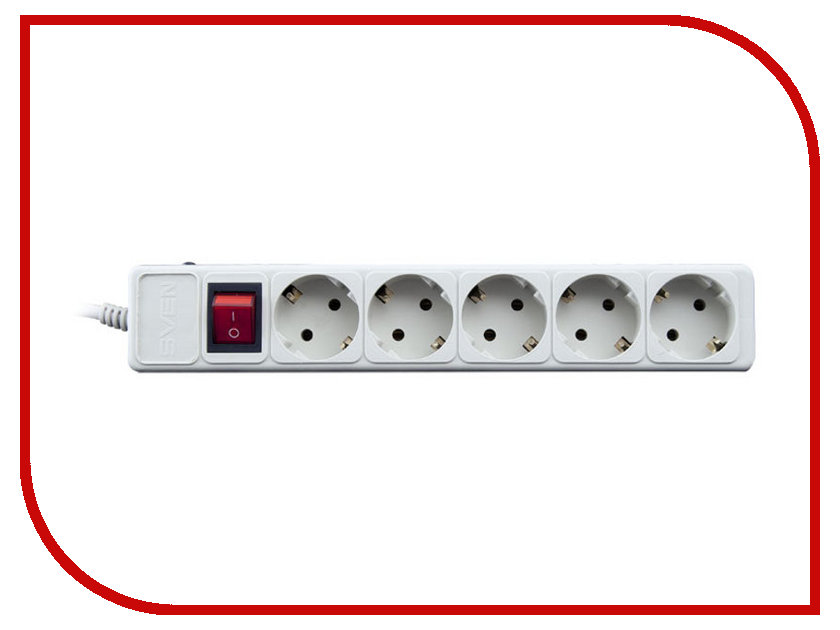 Сетевой фильтр Sven Optima Base 5 Sockets 3m Grey SV-013981 сетевой фильтр exegate sp 6 1 8g 6 sockets 1 8m grey 119388