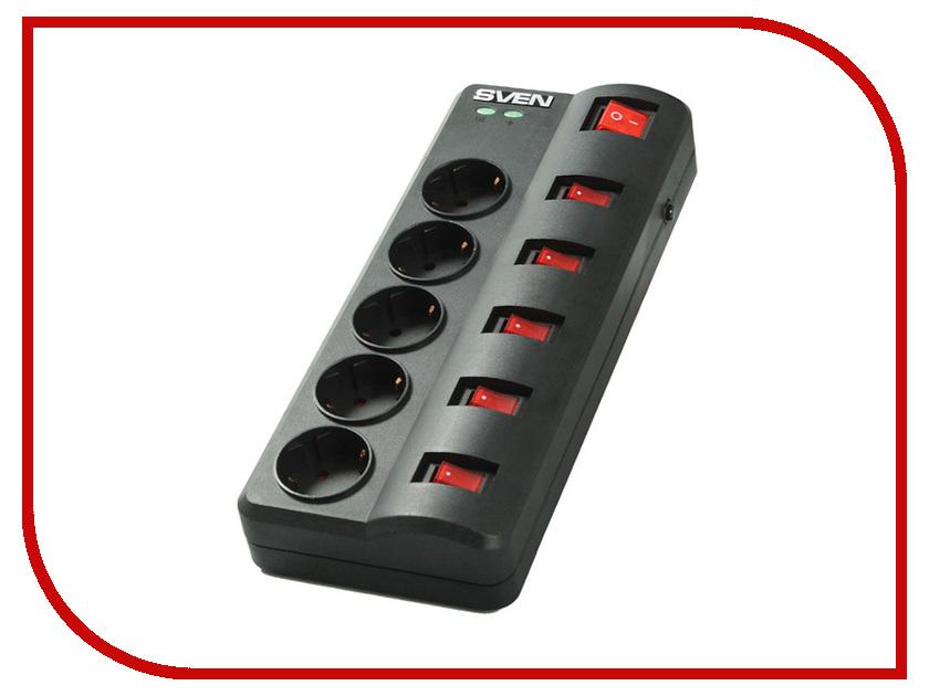 Сетевой фильтр Sven Fort 5 Sockets 5m Black<br>