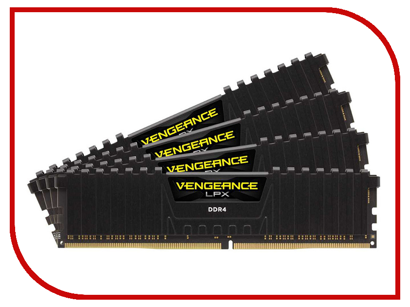 Модуль памяти Corsair Vengeance LPX DDR4 DIMM 2666MHz PC4-21300 - 32Gb KIT (4x8Gb) CMK32GX4M4A2666C16 dimm ddr4 32гб 2x16гб corsair vengeance led white cmu32gx4m2c3000c15