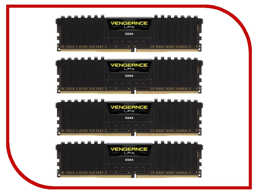 Модуль памяти Corsair Vengeance LPX DDR4 DIMM 2400MHz PC4-19200 - 32Gb KIT (4x8Gb) CMK32GX4M4A2400C14 модуль памяти corsair vengeance lpx cmk32gx4m4b3733c17r ddr4 4x 8гб 3733 dimm ret