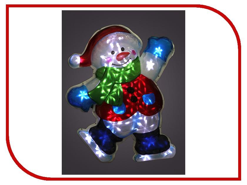 Световое пано Новогодняя Сказка Снеговик на коньках NS97780
