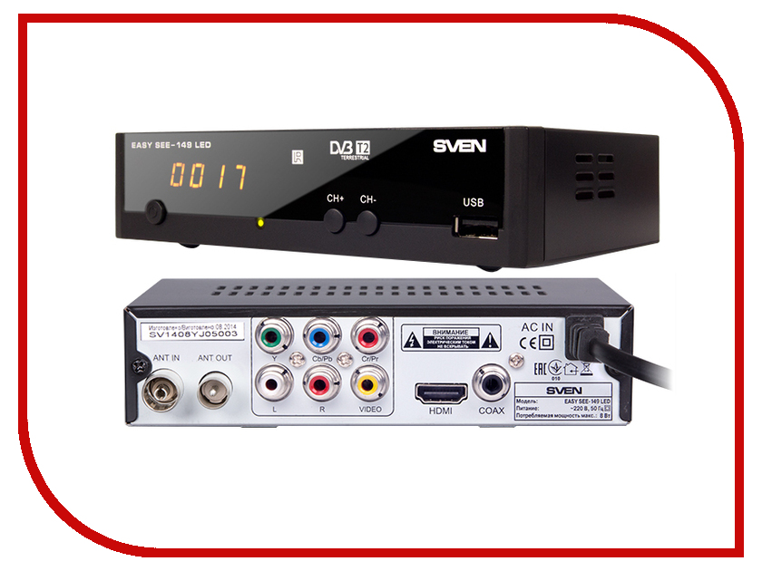 Медиаплеер Sven Easy SEE-149 LED Black<br>