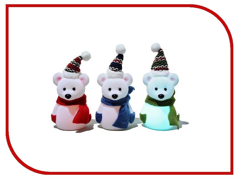 Светодиодная свеча Kaemingk Мишка-Снеговичок 482645