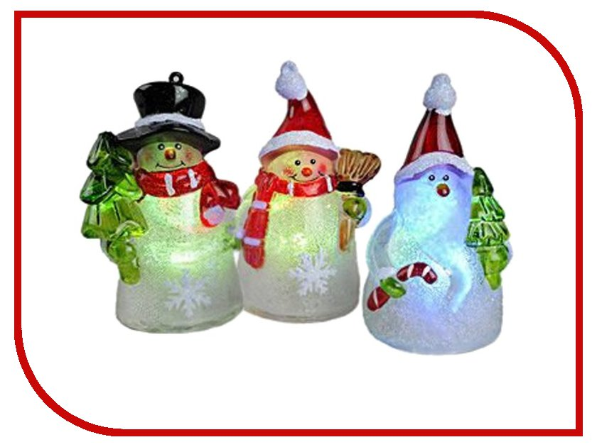 Светодиодная свеча Kaemingk Радужные Снеговички 480980