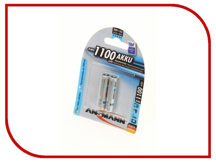 Аккумулятор AAA - Ansmann R03 1100 mAh Ni-MH (2 штуки) 5035222 rechargeable 3 6v aaa 800mah ni mh battery pack