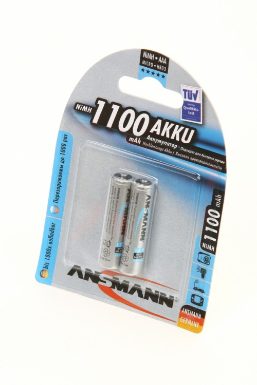 лучшая цена Аккумулятор AAA - Ansmann R03 1100 mAh Ni-MH (2 штуки) 5035222