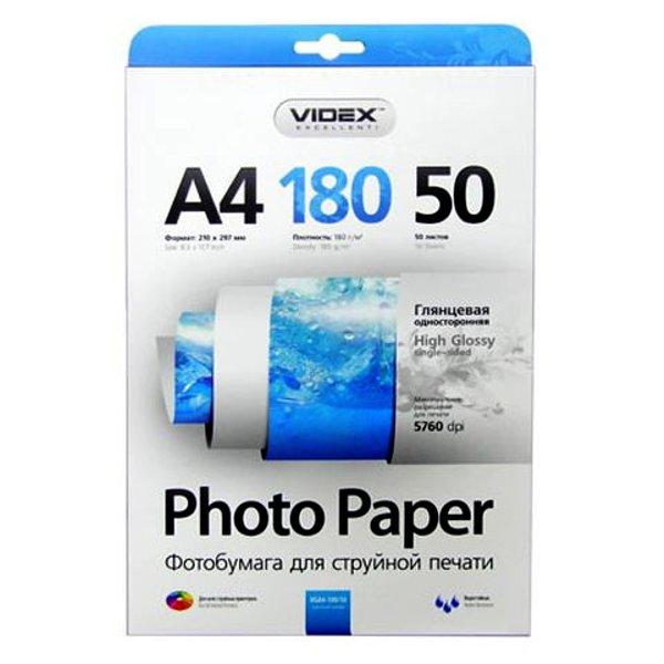 Фотобумага Videx HGA4-180/50 A4 180g/m2 глянцевая 50 листов<br>