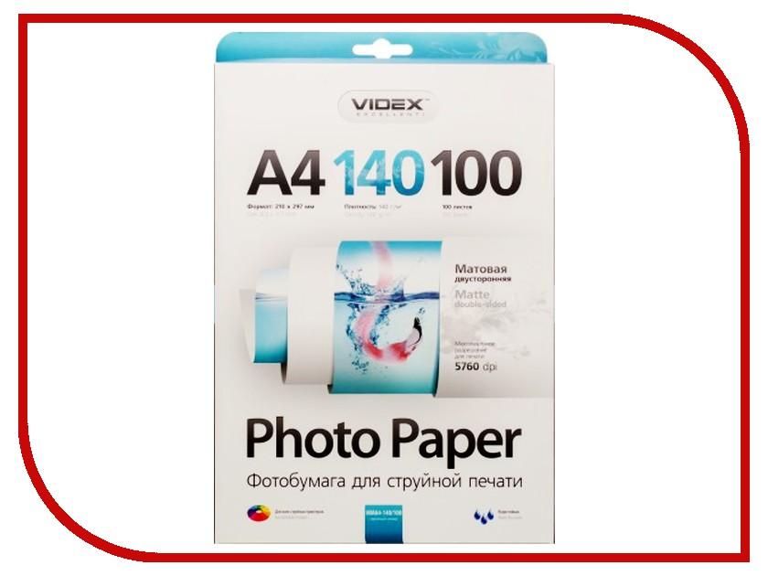 Фотобумага Videx MMA4-140/100 A4 140g/m2 матовая двухсторонняя 100 листов<br>