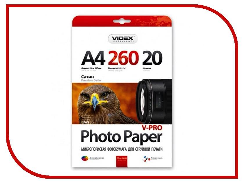 Фотобумага Videx PPLA4-260/20 A4 260g/m2 глянцевая Микропористая, сатин 20 листов зарядное устройство videx