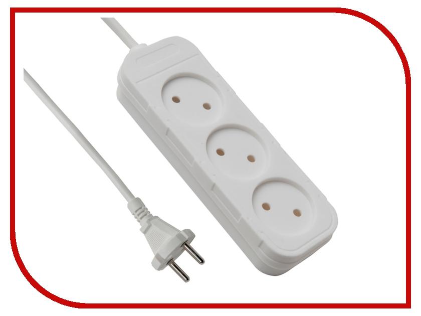 Сетевой фильтр Electraline 3 розетки 3m White 62003